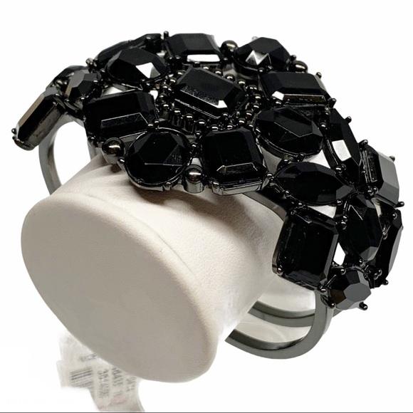Talbots black rhinestone clamp bangle bracelet